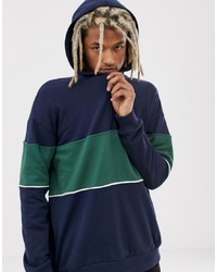 YOURTURN Colour Block Hoodie In Navy And Green With Half Zip