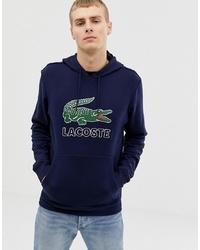 Lacoste Croc Logo Overhead Hooded Sweat In Navy