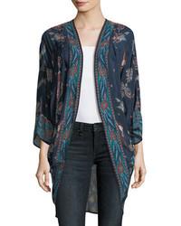 Shara printed kimono jacket marina medium 5146872