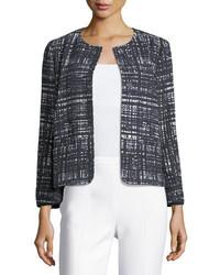 Weave print collarless jacket medium 4986120