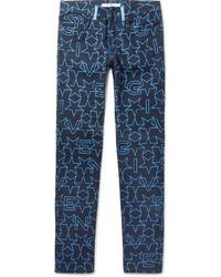 Navy Print Jeans