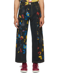 Bethany Williams Black The Magpie Project Edition Deadstock Denim Aoc Print Jeans