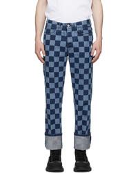 Marcelo Burlon County of Milan Blue Navy Checkerboard Jeans