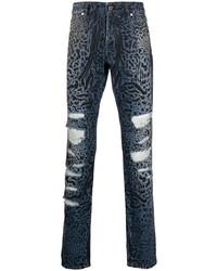 Just Cavalli Distressed Leopard Print Jeans