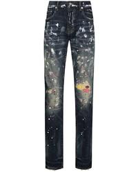 purple brand Paint Splatter Distressed Jeans
