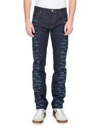 Kenzo Tiger Print Straight Leg Jeans Navy
