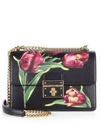 Dolce & Gabbana Rosalia Medium Tulip Print Leather Chain Shoulder Bag