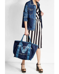 Marc Jacobs Printed Denim Tote With Leather