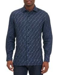 Robert Graham Linen Wave Print Sport Shirt Navy