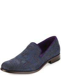 Robert Graham Prince Printed Denim Loafer Navy Blue