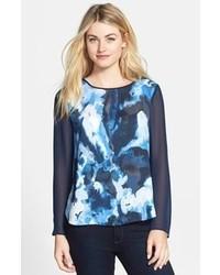 C print mixed media shirttail hem blouse medium 102993