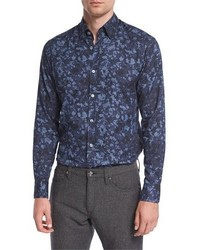 Autumnal print sport shirt blue medium 815289