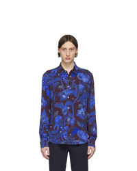 Paul Smith Blue And Burgundy Floral Goliath Shirt