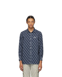 Georges Wendell Blue And White Allover Logo Shirt