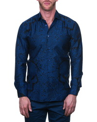 Maceoo Fibonacci Skullprint Black Regular Fit Button Up Shirt