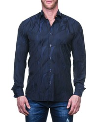 Maceoo Fibonacci Wave Blue Regular Fit Button Up Shirt