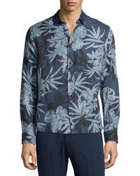 Malone camo leaf printed sport shirt medium 589942