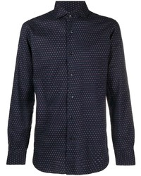 Barba Micro Print Spread Collar Shirt