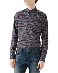 f3cd31c64548 Gucci Horse Print Cotton Muslin Sportshirt Out of stock · Gucci  Navyredwhite Emerald Print Long Sleeve Shirt