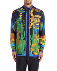 Versace Palm Springs Print Silk Button Up Shirt