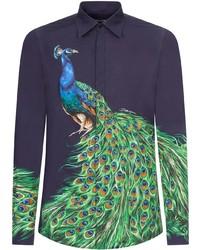 Dolce & Gabbana Peacock Print Buttoned Shirt