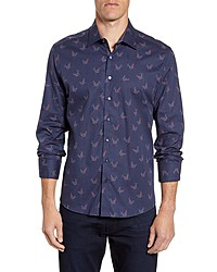 Stone Rose Regular Fit Rooster Print Button Up Sport Shirt
