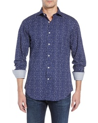 Bugatchi Shaped Fit Crowded Dot Print Sport Shirt