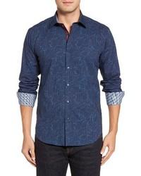 Shaped fit layered print sport shirt medium 1195342