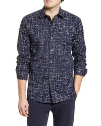 Bugatchi Shaped Fit Stretch Button Up Shirt