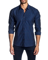 Jared Lang Slim Fit Jacquard Dot Sport Shirt