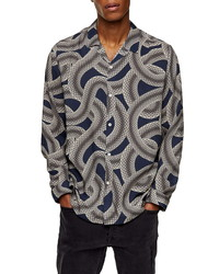 Topman Snake Print Longline Button Up Camp Shirt