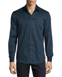 Armani Collezioni Triangle Print Woven Sport Shirt Tealblack