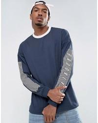 Navy Print Long Sleeve T-Shirt