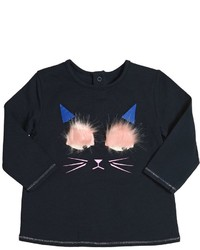 Billieblush Cotton Jersey T Shirt Wfaux Fur Details
