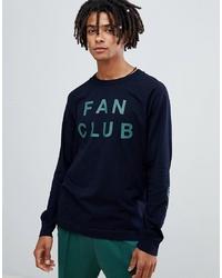 Wood Wood Fan Club Long Sleeve T Shirt In Navy