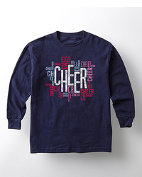 Navy Cheer Long Sleeve Tee Toddler Girls