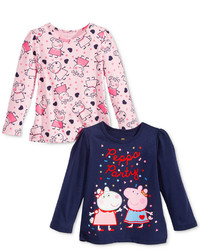 Nickelodeon S Peppa Pig Long Sleeve T Shirt Pack Of 2 Toddler Little Girls