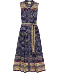 Sea Printed Silk Midi Dress Navy