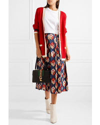 Gucci Pleated Printed Silk Twill Midi Skirt Navy