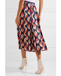 Gucci Pleated Printed Silk Twill Midi Skirt Navy