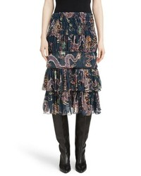 Isabel Marant Zuki Tiered Dragon Print Skirt
