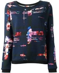 Navy Print Oversized Sweater