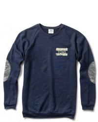 Camo Crewneck Navy Sweatshirt With Elbow Patches