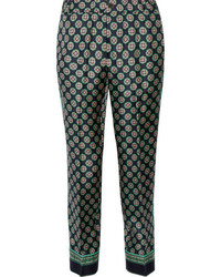 J.Crew Quilina Cropped Printed Silk Twill Straight Leg Pants Navy