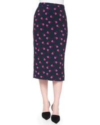 Bell mallow print midi pencil skirt medium 526187