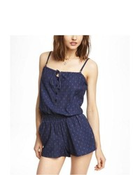 Express Anchor Print Denim Romper