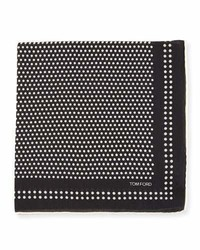 Tom Ford Dot Woven Pocket Square Navy