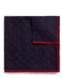 Lardini Floral Print Wool Silk Pocket Square