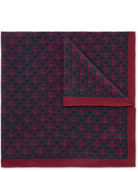 Gucci Logo Print Silk Crepe Pocket Square