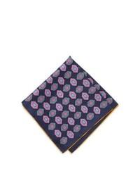Neiman Marcus Diamond Print Silk Pocket Square Navy